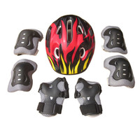 Wholesale ice gear resale online - 7Pcs Ice Skating Protective Gear Bicycle Kid Helmet Child Sports Safety Scooter Cycling Set