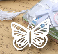 Wholesale silver butterfly favors resale online - Metal Silver Butterfly Bookmark With White tassels wedding baby shower party decoration favors Gift gifts Stationery Gifts SN2143