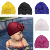 Wholesale 6 Colors Girls Boys Swim Hat Sun Hat Newborn Toddler Turban Bow Hat Solid Colors New
