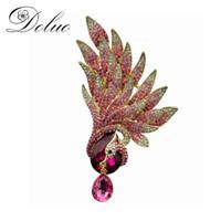 çinli elmas takıları toptan satış-Rhinestone Pembe Phoenix Broş Çin tarzı takı broş kadınlar için Renkli Rhinestone hayvan broş pin Coat aksesuarları