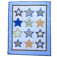 bebek beşik yorgan toptan satış-Mavi yıldız nakış erkek bebek beşik kreş battaniye pamuk polyester bebek beşik yorgan stokta toptan