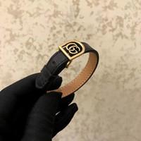 bracelet homme métal noir achat en gros de-Cuir véritable luxueux avec métal creux et logo pour femme et homme bracelet en bijoux de mariage noir et rouge livraison gratuite PS6237A