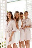 ingrosso abiti di seta faux-Sposa Corona Team Bride d'oro stampa glitter Spedizione sezione lunga kimono Donne Bachelorette Wedding Faux abito di seta libero