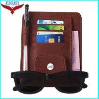 Wholesale car eye visor resale online - Brown Leather Eye Glasses Card Bill Pen Holder Clip Car Accessory Sun Visor Sunglasses Cover For Audi Benz