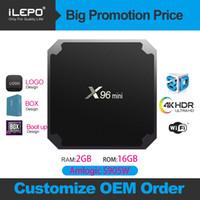 quad-core amlogic android tv box venda por atacado-X96 Mini Caixa de TV Android 7.1 Amlogic S905W Quad core caixa de IPTV com WIFI 2.4 GHz 1 G + 8 G / 2 G + 16 G Media Player H96 MAX