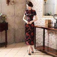 vestidos de flor vermelha chinesa venda por atacado-Preto Vermelho Chinês Tradicional Vestido De Cetim De Seda das Mulheres Cheongsam Qipao Do Vintage de Verão de Manga Curta Longo Vestido de Flores Plus Size