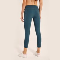 pantalones de yoga para adelgazar al por mayor-LU-27 mujeres de cintura alta Atheltics yoga legging Tight Side Pocket Deportes Elásticos Fitness Leggings Slim Running Gimnasio Pantalones