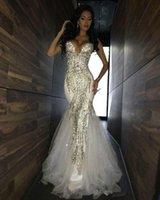retour photos femmes achat en gros de-2019 luxe Paillettes luxe sirène africaine Robes de bal chérie Zipper Retour longue Tulle Robes de sirène Tenue de soirée formelle pour les femmes