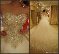 kleid kleid diamant hochzeit großhandel-2019 neue Sexy Luxus Brautkleider Bling Schatz Organza Royal Train Kristall Diamant Brautkleider Plus Size Lace-up Nach Maß