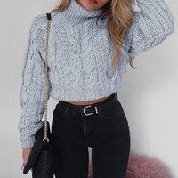 manga trenzada al por mayor-Womens Basic Chunky trenzado de punto de cuello alto suéter manga corta corta Top Retro retorcido delgado Pullover Jumper