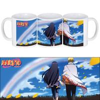 imprimir canecas venda por atacado-Copos de café de cerâmica branca e canecas com Uzumaki Naruto Hyuga Hinata sob impressão de céu azul
