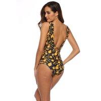 amerikanischer sexy heißer bikini großhandel-Badeanzug europäischen und amerikanischen Bikini Frauen gedruckt einteiligen Badeanzug sexy Multi-Seil heißen Stil sexy Strand aushöhlen aus einem Stück