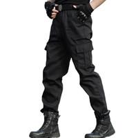 calças de swat preto venda por atacado-Tático Calças Carga Calças Dos Homens Roupas de Trabalho Homme Forças Especiais Swat Combate Do Exército Calças Calças Pretas Barato Fino
