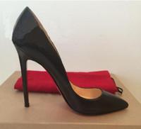 ingrosso tacchi neri scarpe nere-Scarpe da donna di marca Scarpe Donna Scarpe con tacchi alti rossi Bottoni a spillo Scarpe nere opache Linee di pelle di pecora scarpe da sposa donna 8cm 10cm 12cm + scatola