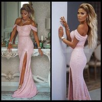 cb8ad598b7 New Sexy Sparkly Pink Sequins Mermaid Prom Dresses Off Shoulder Side Split  Open Back Sweep Train Formal Party Dress Pageant Evening Gowns