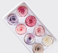 suni gül kafaları toptan satış-Yapay Gül Çiçekler Kafaları 4-5 cm Taze Korunmuş Gül Hea sevgililer Günü Sonsuza Güller Heads DIY Hediye 8 adet 1 kutu LJJK1185