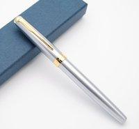 canetas de fonte baoer 388 venda por atacado-Baoer 388 Fountain Corpo de aço Pen M Nib Pen Ink