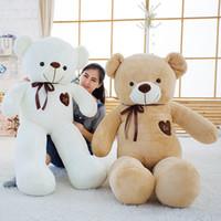 ursinhos grandes de pelúcia venda por atacado-Macio Big Teddy Bear Stuffed Toy Plush animal com fita 80cm100cm Kawaii grandes ursos para Girl Friend almofada para Crianças Crianças