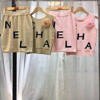 strick bedrucktes hemdkleid großhandel-Qualitativ hochwertige Damen-Designer stricken T-Shirts und Miniröcke Druckbuch schlankes Strickkleid