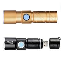 usb flash imperméable à l'eau achat en gros de-Portable USB Rechargeable lampe de poche Mini Pratique LED Flash Light Lanterne Torche Étanche Pour Camping En Plein Air Penlight LJJZ62
