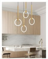 Wholesale modern style rings resale online - JESS Nordic Art LED Loft Creative Concise Style Dining Room Pendant Lamp Gold Ring Cafe Restaurant Decoration Lamp 100v