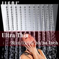 chuveiro 24 polegadas venda por atacado-LED 8/10/12/16/20/24 Polegada Chuveiro de Chuva banho de chuva Cabeça de Aço Inoxidável Cabeça de Chuveiro Do Banheiro Ultra-fino