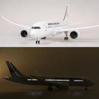 escala de modelos de plástico venda por atacado-1/130 Escala 47 cm Avião Boeing B787 Dreamliner Aeronaves Japão Modelo de avião com Luz e Roda Diecast Plástico Plano de Resina