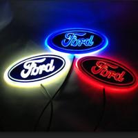 emblèmes led pour voitures achat en gros de-5D voiture LED insigne lumière voiture LED emblème voiture logo LED lumière pour série Ford 14,5 cm x 5,6 cm trois couleurs en option