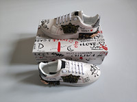 zapatos de goma de moda para hombres al por mayor-Diseñador de moda zapatos hombre mujer cuero portofino zapatillas punto de terciopelo parche suela de goma Italia zapatos de vestir casual tamaño con caja 35-46