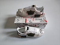 kauçuk yamaları toptan satış-Moda tasarımcısı ayakkabı adam kadın deri portofino sneakers kadife dikiş yama Kutusu ile Kauçuk taban İtalya gündelik elbise ayakkabı boyutu 35-46