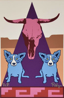 Wholesale pictures puppies for sale - Group buy George Rodrigue Blue Dog Pueblo Puppies Home Decor Handpainted HD Print Oil Painting On Canvas Wall Art Canvas Pictures