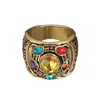 kristal sonsuzluk halkaları toptan satış-Moda Vintage Charm Avengers 3 Infinity Savaş Thanos Takı Infinity Dayağı Infinity taşlar Erkekler için Kristaller Yüzük