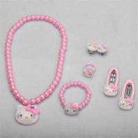 kit de joyas gatito al por mayor-Conjunto de accesorios para el cabello para niños Hello Kitty Jewelry 1set = 7pcs Accesorios de joyería Collar Pulsera Horquilla de alta calidad JQ01