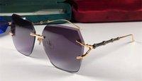 cristais de corte de diamante venda por atacado-O mais recente designer de moda óculos de sol 6015 frameless cristal oco diamante corte quadro lente moda simples verão womeneyewear