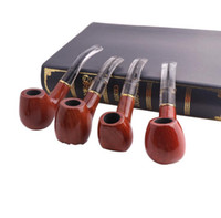 Wholesale red sandalwood carving for sale - Group buy Red sandalwood wood carved pipe with metal ring filter cigarette holder fittings solid wood pipe