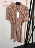 glockenröcke großhandel-Marke Sommerkleider Frauen Overalls Strampler New Bell Print Kurzarm Seidenkleid mit Hardware Gürtel Temperament Rock Frauenkleidung