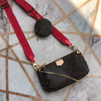 Wholesale three pieces handbags for sale - Group buy Deigner Shoulder Bags Purse Vintages Flowers Knitting Belt Genuine Leather Letter Three piece Purse High Quality Women Handbag Wallets