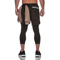homens gymwear venda por atacado-2019 Hot Men Verão Calças de fitness Curto Homens Joggers Calças Sportwear Mens Compression Sporting com focos embutidos gymwear