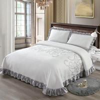 ropa de cama de punto de la reina al por mayor-Lujo de punto de algodón 3 piezas Juego de edredón de cama King Queen Size Bed Cover Set colchón Topper manta con fundas de almohada