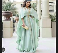 vestidos de noite de ouro verde de comprimento venda por atacado-Hortelã Verde Kaftan Caftan Evening Vestidos Formais com Manga Longa 2019 Luxo Ouro Bordado Detalhe Árabe Abaya Ocasião Prom Vestido