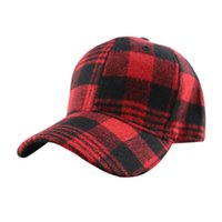 Wholesale felt baseball cap for sale - Group buy Plaid Snapback Hip Hop Cap Baseball Skateboard Hip Hop Cap Men Women le Winter Felt Hats LJJK1950
