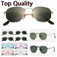 Wholesale men fashion flats for sale - Group buy desinger sunglasses hexagonal flat glass lenses for men women male female sunglasses with brown or black case cloth paper box accessories