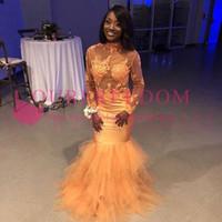 вечерние платья оптовых-2019 оранжевый Sheer высокая шея 2k17 Prom Dresses с длинным рукавом аппликации многоуровневое юбки Русалка черные девушки Южная Африка вечерние платья