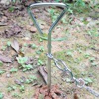 estaca para mascotas al por mayor-Espiral corbata Fuera correa del metal del acero Tornillo Estaca Heavy Duty perro de mascota Sacacorchos seguro para acampar Jardín Planta cable de alambre de plomo del correo