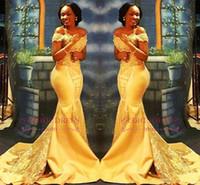 африканское желтое кружево оптовых-Африканский Нигерийский Желтый Русалка Пром Платья 2018 С Плеч Кружева Блестками Атласные Вечерние Платья Выпускного Вечера Арабские Платья