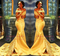 Wholesale white lace nigerian dress for sale - Group buy African Nigerian Yellow Mermaid Prom Dresses Off Shoulders Lace Sequined Satin Evening Prom Gowns Arabic Dresses