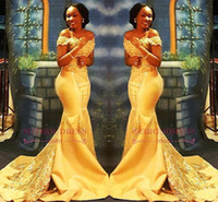 afrika dantelleri toptan satış-Afrika Nijeryalı Sarı Mermaid Gelinlik 2018 Kapalı Omuzlar Dantel Payetli Saten Akşam Balo Abiye Arapça Elbiseler