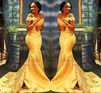 vestidos de fiesta árabe al por mayor-Vestidos de fiesta de sirena amarilla nigeriana africana 2018 de hombros de encaje con lentejuelas de satén vestidos de fiesta de noche vestidos árabes