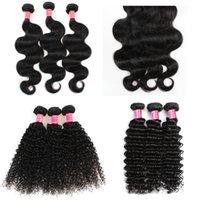 paquetes de pelo brasileño de 28 pulgadas al por mayor-YAHLIGS Better Hair 3 Bundles 8-28 pulgadas Brasileño Remy de la Virgen Onda profunda Curly Body Wave Color recto 1B Negro J80
