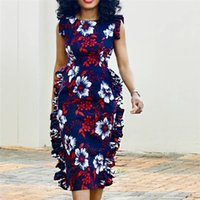 weiße noble kleider großhandel-Frauen-Sommer-druckte Kleider Rot Weiß Blau Blumenweinl Ärmel elegant weibliche Retro Modest Classy Rüsche dünne Roben Tunika